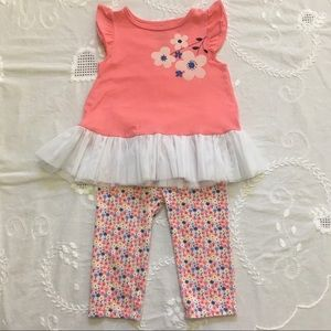 Salmon Floral Print Top & Leggings Set 2PC